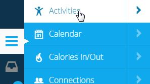 Garmin Connect activities menu